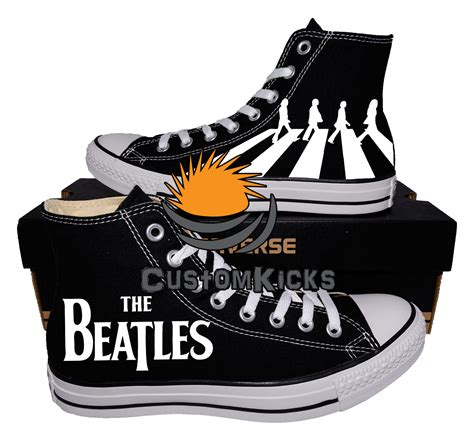 beatles sneakers painted converse sneakers the beatles hey and similar items