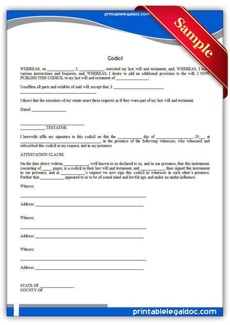 codicil template free printable codicil template printable forms