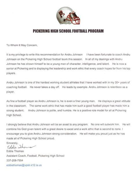 Recommendation Letter For College Athlete sle recommendation letter for high school student