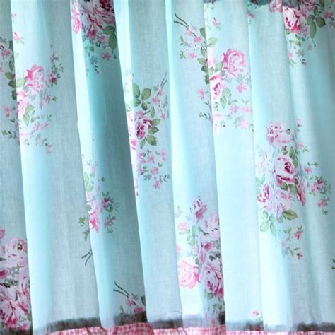 rose drapes shabby blue rose ruffled kitchen curtain valance
