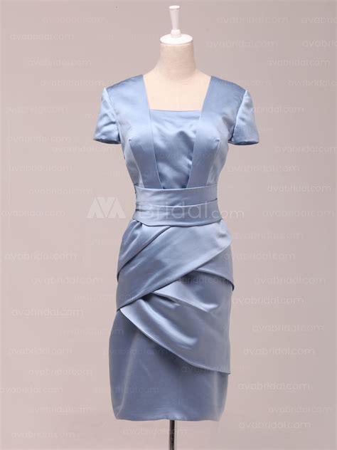 B460 Purple sheath style tea length satin bridesmaid dress b460
