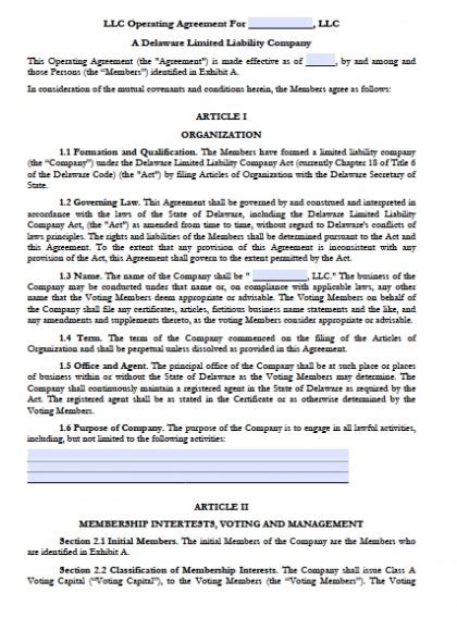 Download Delaware Llc Operating Agreement Forms And Templates Pdf Rtf Word Wikidownload Delaware Llc Operating Agreement Template