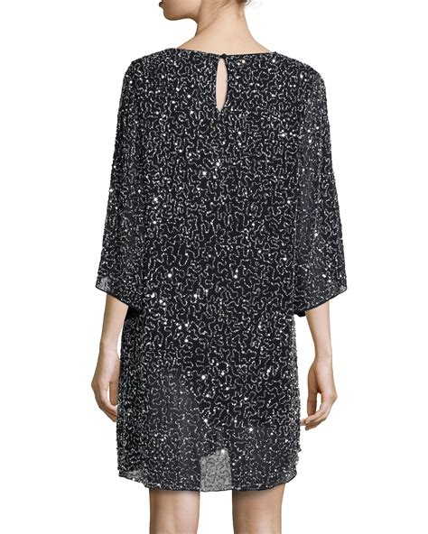 beaded shift dresses shary beaded shift dress in black lyst