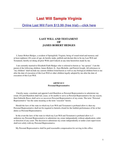 Virginia Last Will And Testament Free Template Last Will Sle Virginia