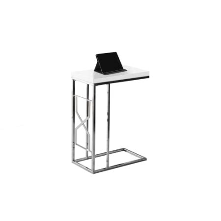glossy white chrome metal accent table monarch accent table glossy white chrome metal walmart com