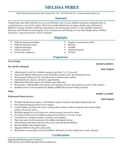 nanny cv template sle sle nanny resumes 28 images sle resume for handyman
