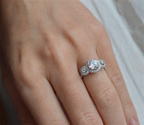 three stone round halo engagement ring cubic zirconia ring