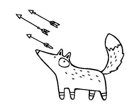 dibujos para colorear zorro dibujo de zorro y flechas para colorear dibujos net