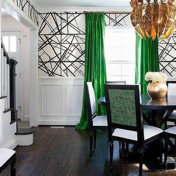 how to use green in black white room green french pleat curtains design ideas