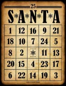 Free printable santa bingo cards