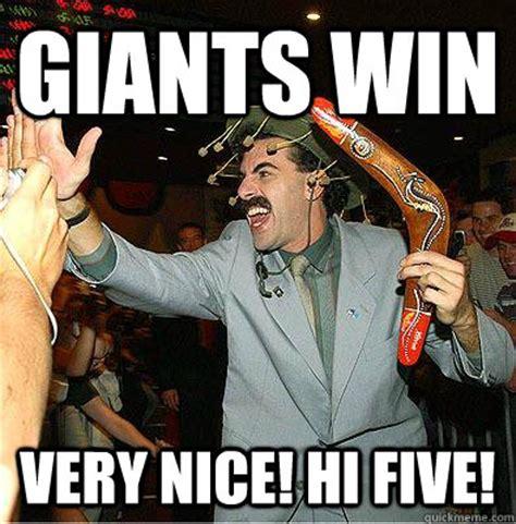 Giants Memes - giants win very nice hi five misc quickmeme