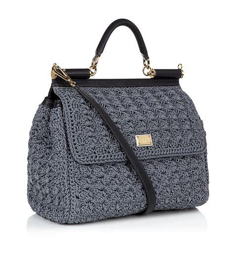dolce gabbana miss sicily classic crochet bag in gray lyst