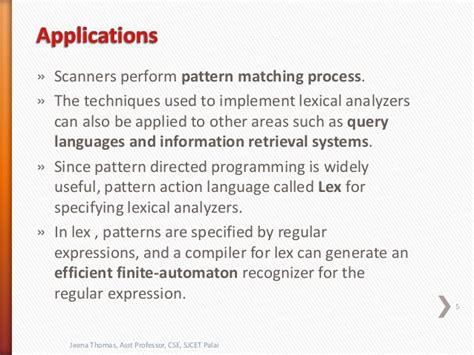 pattern matching programming languages lexical analysis compiler design