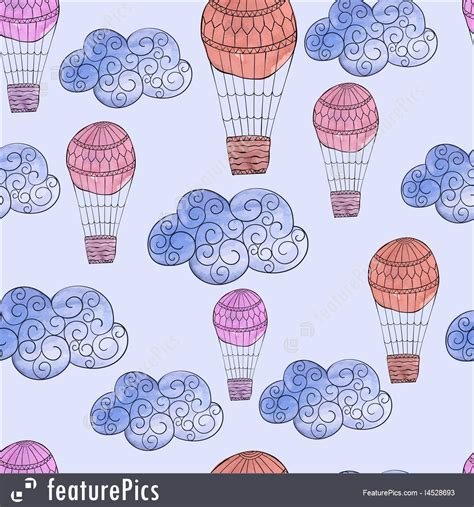 watercolor pattern with air balloons and clouds stock vector seamless pattern with watercolor clouds and air