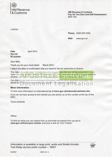 certification letter for residence apostille service for hmrc confirmation of residency