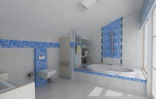 Bathroom Wall Tile Design Ideas Cheerful Bathroom Design Ideas With Blue Mosaic Tile
