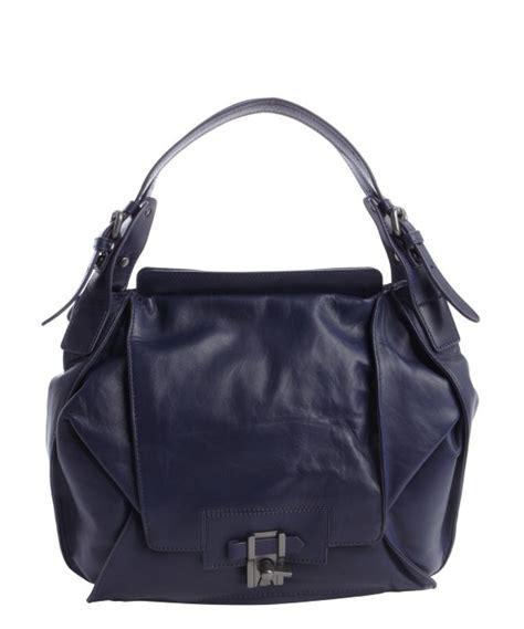 Kooba Jacinda Buckle Front Shoulder Satchel by Lyst Kooba Blue Indigo Leather Valerie Shoulder Bag In Blue