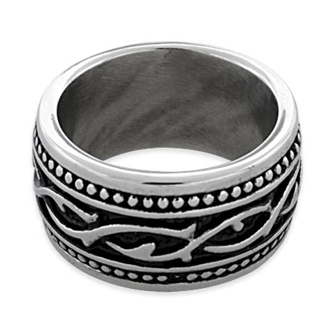 tribal pattern rings stainless steel thorn tribal pattern band ring