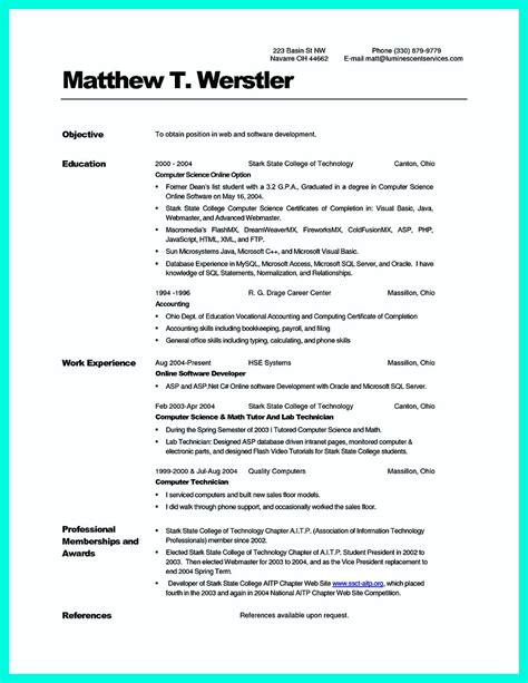 best resume format for computer science students cv computer science student exle college resume best resume templates