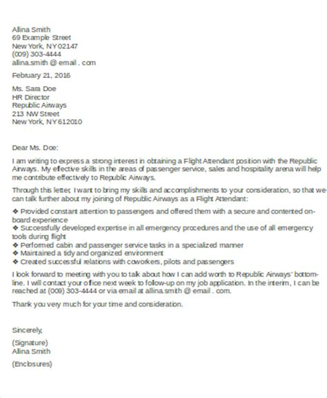 flight attendant cover letter flight attendant cover