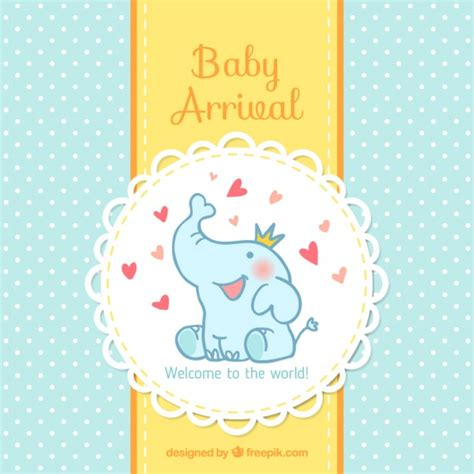 baby born card template baby arrival card vector free