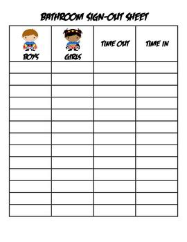 bathroom sign in out sheets classrooms superhero bathroom sign out sheet super hero by three