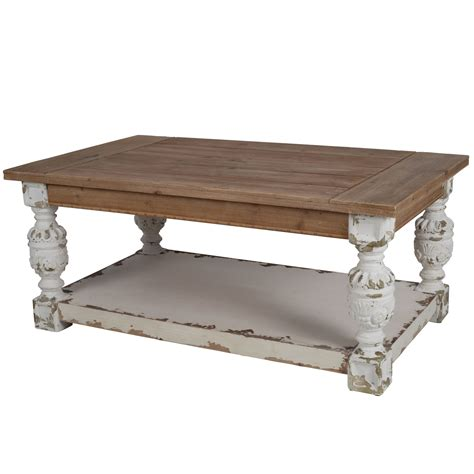 white and brown coffee table a b home alcott antique white and brown coffee table on sale