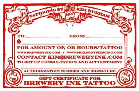 tattoo gift certificate brewery ink