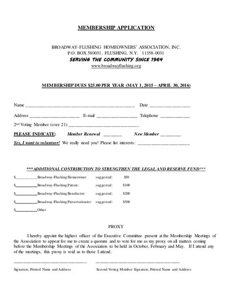 Membership Application Proxy Form Template Homeowners Association