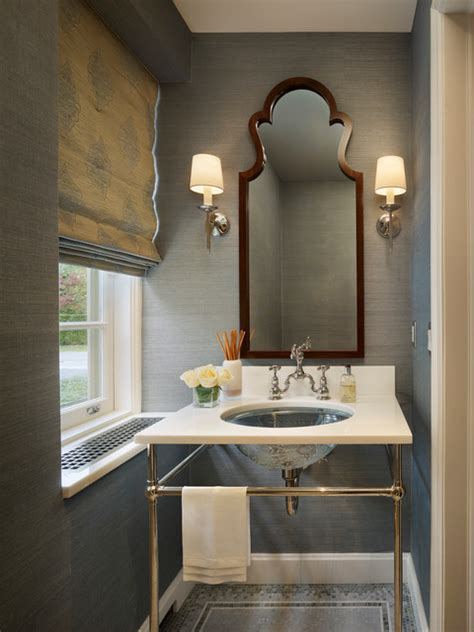 grey wallpaper powder room haverford renovation contemporary powder room