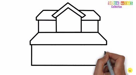 tutorial gambar ilustrasi gambar belajar menggambar rumah cantik bertingkat anak