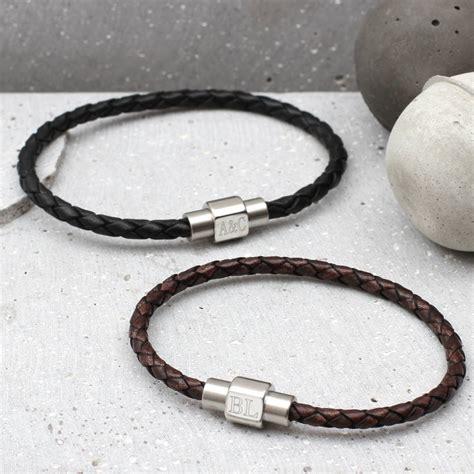mens personalised brown leather bracelet mens personalised clasp slim leather bracelet hurleyburley
