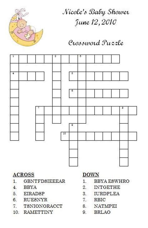 Baby Shower Crossword Puzzle Maker Free by Personalized Baby Shower Crossword Puzzle Ideas