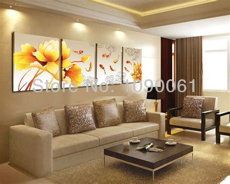 Dining Room Wall On Canvas Painted 4 Koi Fish Lotus Painting Abstract