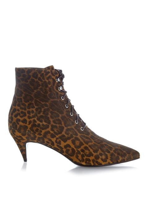 laurent cat leopard print suede ankle boots in