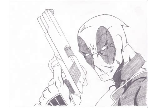 Deadpool Drawing 001 By Onivoc On Deviantart Cool Drawings Of Shooting 2