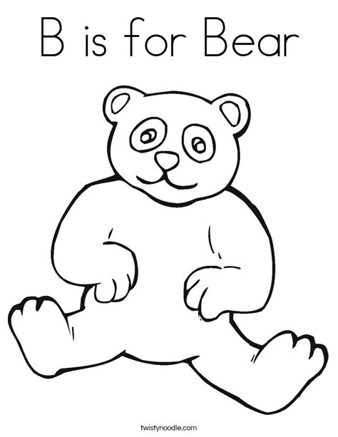 B Bear Coloring Page | alphabet letter b bear coloring page for preschool bear