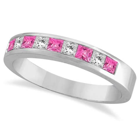 9ct white gold pink sapphire eternity ring