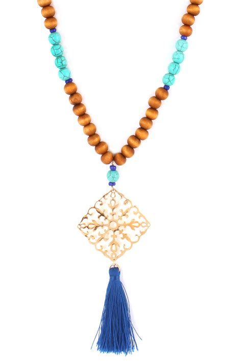 wood bead tassel necklace wood bead with filigree tassel necklace necklaces