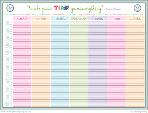 weekly schedule planner template organization family planning 101 cavalier