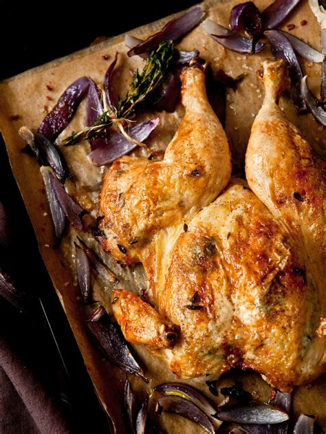 Oven Butterfly butterflied roast chicken with onions deliciously organic