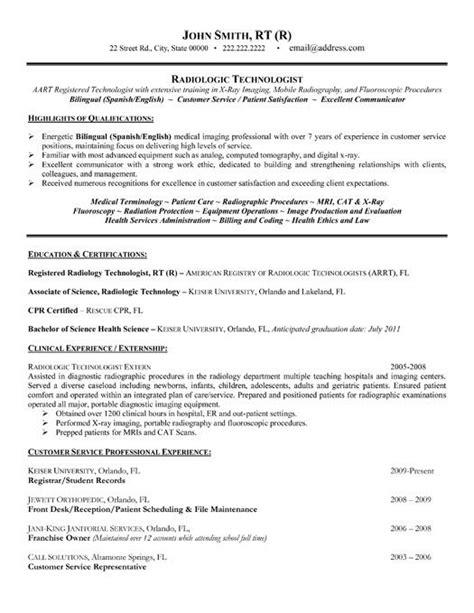 radiologic technologist resume sles click here to this radiologic technologist resume