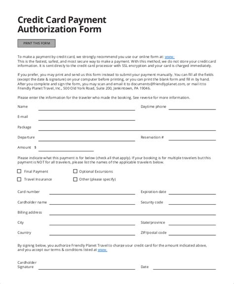 Credit Card Authorization Form Template For Travel Agency Credit Card Authorization Form Sle 8 Exles In Word Pdf