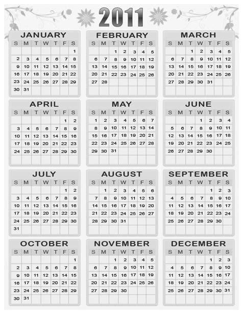 Calendar 2011 Printable Printable Calendar 2011 Free Decent Black And