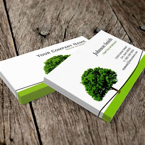 Tree Service Business Cards Templates by Silver Metallic Business Card Templates Bizcardstudio