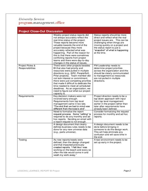 lessons learned report sle project lessons learned report free