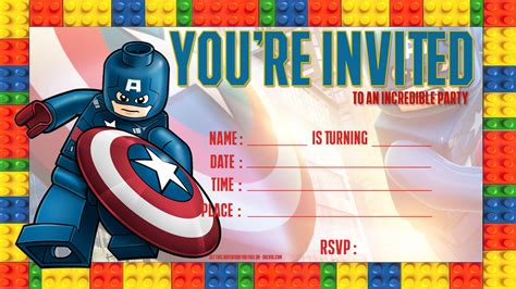 free lego captain america birthday invitation template