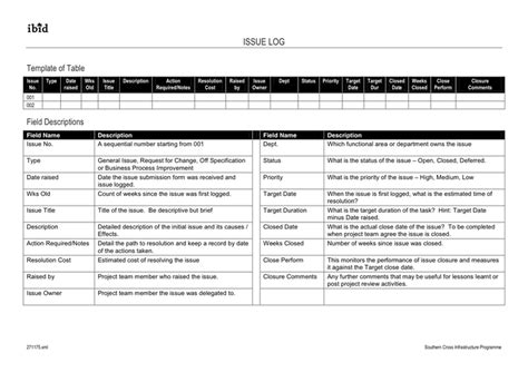 project issue log template in word and pdf formats