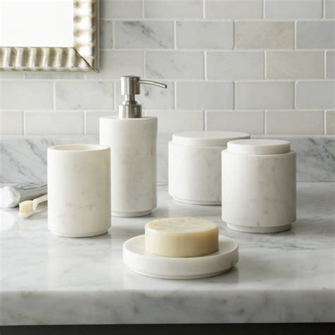 Graydon Marble Bath Accessories Crate And Barrel And White Bathroom Accessories