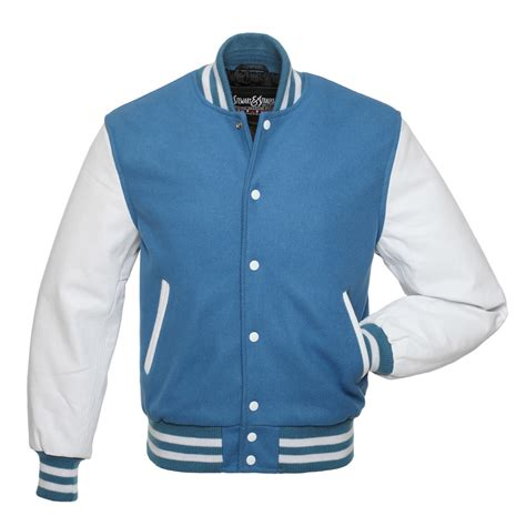 Jaket Light Blue columbia blue wool and white leather letterman jacket c110